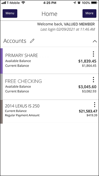 Mobile Banking Account Screen