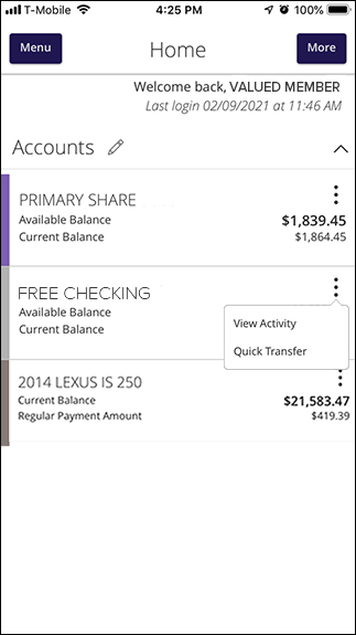 Mobile Banking View Activity