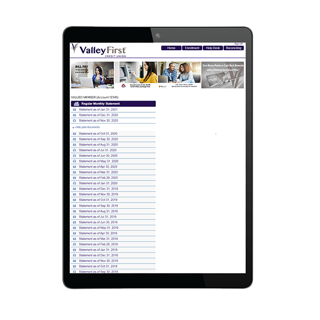 eStatement web page viewed on tablet